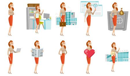 Vector conjunto de ilustraciones con gente de negocios. Foto de archivo - 77989226