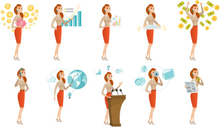 Vector set of illustrations with business people. Ilustração