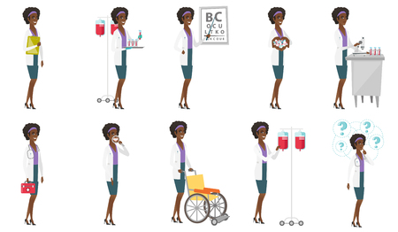 white coat: Vector set of doctor characters. Illustration