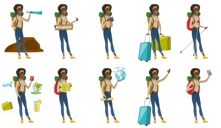 woman cellphone: Vector set with traveler characters. Illustration
