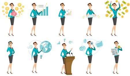 Vector set of illustrations with business people.  イラスト・ベクター素材