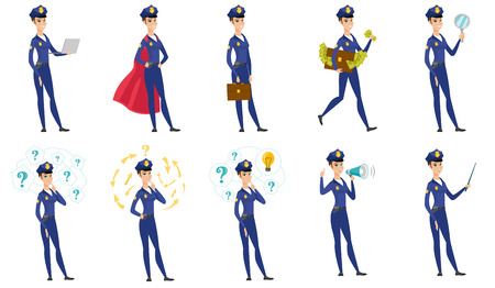 bribery: Vector set of police woman characters.