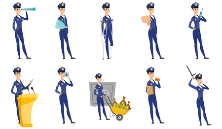 Vector set of police woman characters.