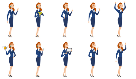 palm pilot: Vector set of stewardess characters. Illustration