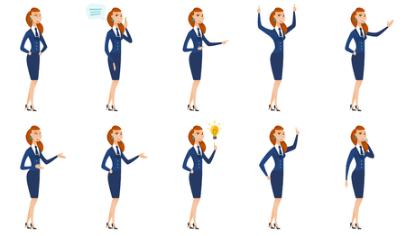 Vector set of stewardess characters. Ilustrace
