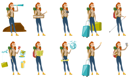 Vector set with traveler characters. Ilustracja