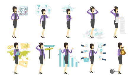 Vector set of illustrations with business people. 向量圖像