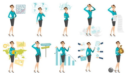 taxpayer: Vector set of illustrations with business people. Illustration