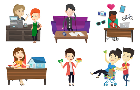 Vector set of shopping people characters. Ilustracja