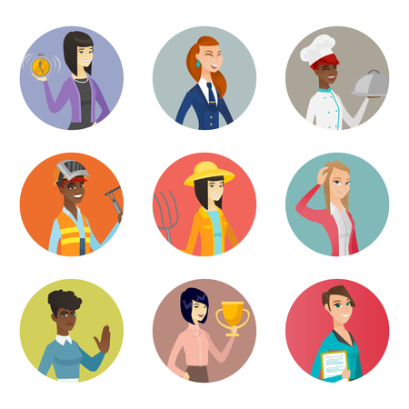 pitchfork: Vector set of characters of different professions.