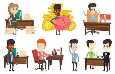 Vector set of business characters. Illustration