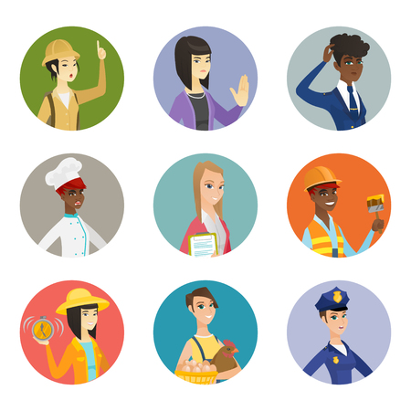 femme policier: Asian farmer in summer hat showing ringing alarm clock. Young farmer with alarm clock. Set of different professions. Set of vector flat design illustrations in the circle isolated on white background.