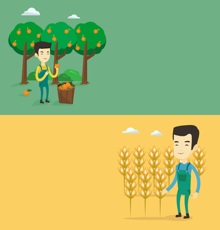 asian gardening: Two agricultural banners with space for text. Illustration