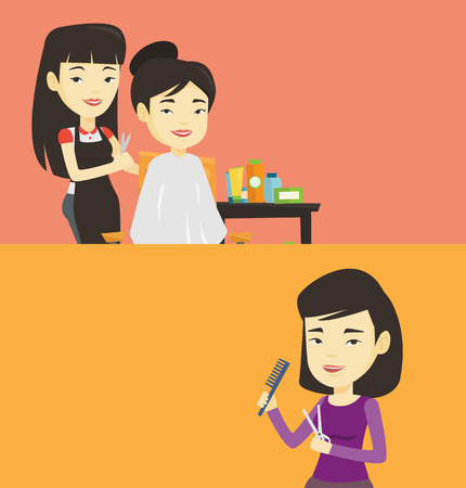 Two beauty banners with space for text. Vector flat design. Horizontal layout. Young female hair stylist holding comb and scissors in hands. Professional asian female hair stylist ready to do haircut. Illustration