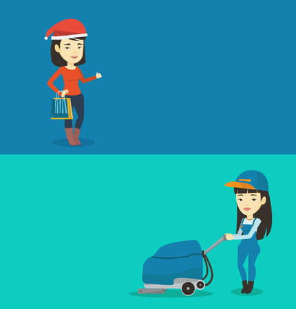Two shopping banners with space for text. Vector flat design. Horizontal layout. Woman in santa hat holding shopping bags and giving thumb up. Asian woman carrying shopping bags with christmas gifts. Illustration