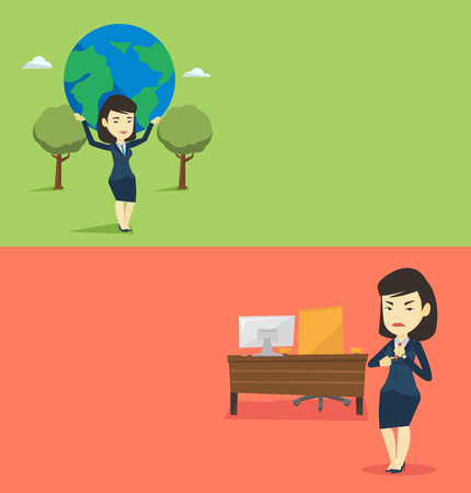Two business banners with space for text. Vector flat design. Horizontal layout. Angry employer pointing at time on wrist watch. Young asian employer checking time of coming of her latecomer employee.