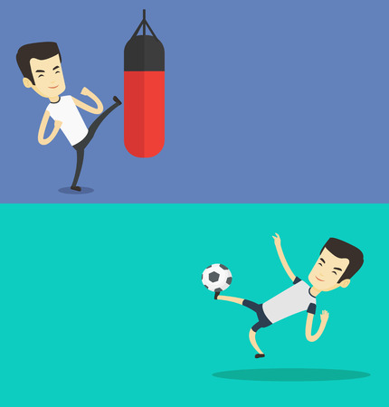 Two sport banners with space for text. Vector flat design. Horizontal layout. Young soccer player kicking ball during game.