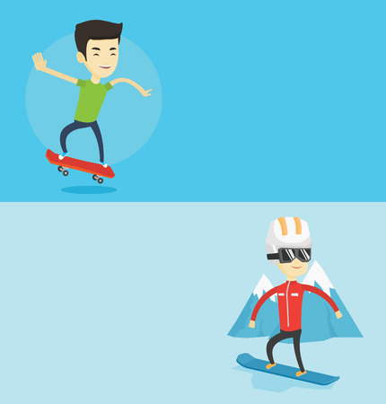 Two sport banners with space for text. Vector flat design. Horizontal layout. Asian man riding a skateboard. Happy man skateboarding. Young skater riding a skateboard. Man jumping with skateboard.