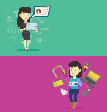 lady on phone: Two technology banners with space for text. Vector flat design. Horizontal layout.