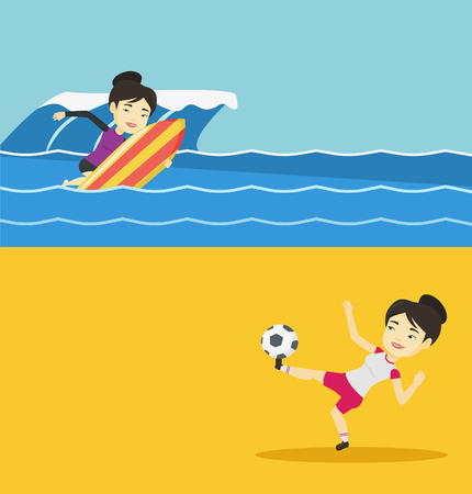 Two sport banners with space for text. Vector flat design. Horizontal layout. Illustration