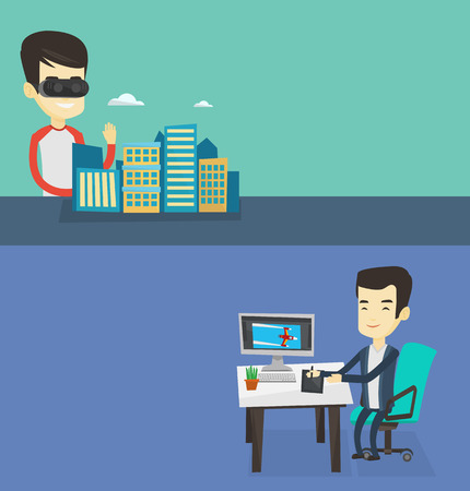 Two technology banners with space for text. Vector flat design. Horizontal layout. Man in vr headset getting into vr world. Man developing a project the architecture of the city using vr glasses. Illustration