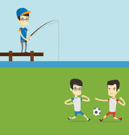 Two sport banners with space for text. Vector flat design. Horizontal layout. Two asian soccer players fighting over control of ball during a football match at stadium. Football players in action. Illustration