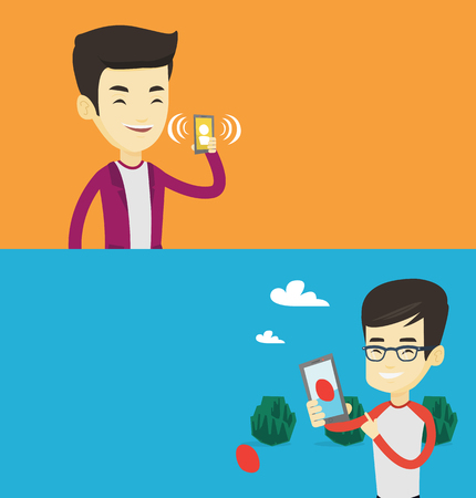Two technology banners with space for text. Vector flat design. Horizontal layout. Young asian man holding ringing mobile phone. Man answering a phone call. Man standing with ringing phone in hand.