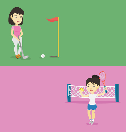 Two sport banners with space for text. Vector flat design. Horizontal layout. Young asian woman playing golf. Golfer hitting the ball in the hole with red flag. Golfer practicing on the golf course. Ilustração