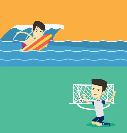 surf team: Two sport banners with space for text. Vector flat design. Horizontal layout. Football player celebrating scoring goal. Man kneeling with raised arms on the background of football gate with ball.