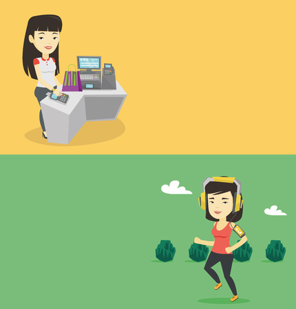 Two technology banners with space for text. Vector flat design. Horizontal layout. Asian woman running with earphones and armband for smartphone. Woman using armband for smartphone to listen to music.