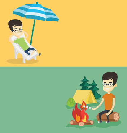 Two travel banners with space for text. Vector flat design. Horizontal layout. Young asian traveler sitting on a log near campfire with marshmallow. Traveler man roasting marshmallow over campfire.