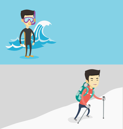 Two travel banners with space for text. Vector flat design. Horizontal layout. Asian man in diving suit, flippers, mask and tube standing on the background of a big sea wave. Man enjoying snorkeling.