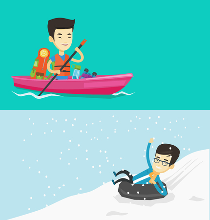 Two travel banners with space for text. Vector flat design. Horizontal layout. Cheerful asian man traveling by kayak. Man riding in a kayak with skull in hands and some tourist equipment behind him.