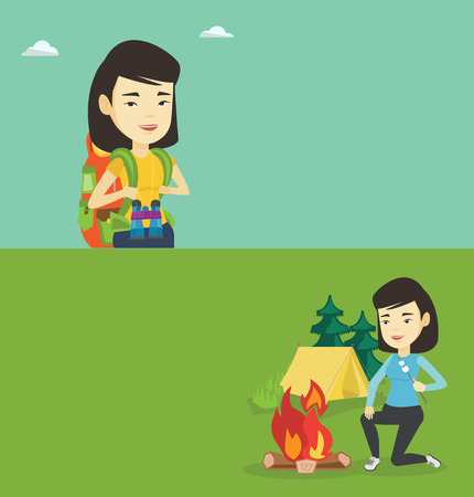 hiking: Two travel banners with space for text. Vector flat design. Horizontal layout. Asian woman sitting near campfire with marshmallow. Young woman relaxing near campfire on the background of camping site. Illustration