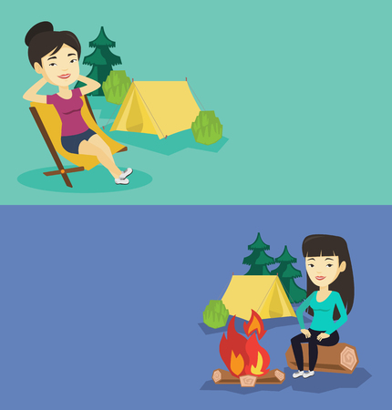 collapsible: Two travel banners with space for text. Vector flat design. Horizontal layout. Woman relaxing in camping. Woman sitting in chair on the background of camping site. Woman enjoying vacation in camping.