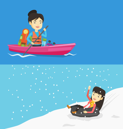 Two travel banners with space for text. Vector flat design. Horizontal layout. Young asian woman having fun while sledding on snow rubber tube in mountains. Happy woman riding on snow rubber tube. Illustration