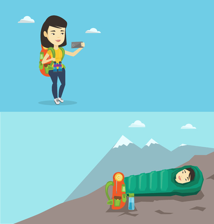 woman cellphone: Two travel banners with space for text. Vector flat design. Horizontal layout. Asian tourist making selfie. Tourist with backpack taking selfie with cellphone. Tourist taking selfie during summer trip