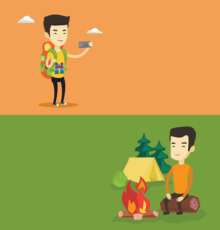 Two travel banners with space for text. Vector flat design. Horizontal layout. Travelling man sitting on log near campfire on the background of camping site. Young asian man resting near campfire.
