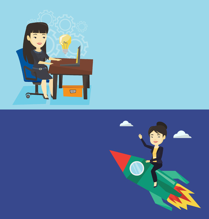 Two business banners with space for text. Vector flat design. Horizontal layout. Businesswoman flying on business start up rocket. Asian business woman sitting on business start up rocket and waving.