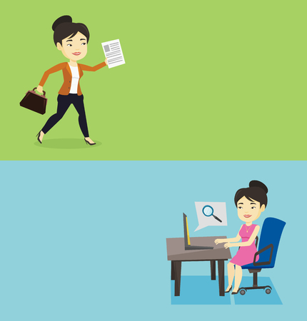searching: Two business banners with space for text. Vector flat design. Horizontal layout. Asian business woman working on laptop and searching information on internet. Concept of internet search and job search Illustration