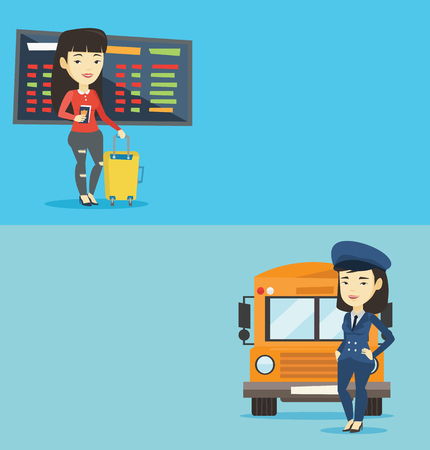 Two transportation banners with space for text. Vector flat design. Horizontal layout. Young asian female passenger waiting for a flight at the airport. Passenger holding passport and airplane ticket.