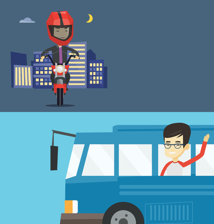 Two transportation banners with space for text. Vector flat design. Horizontal layout. Asian man enjoying his trip by bus. Man waving from bus. Passenger peeking out of bus window and waving hand.