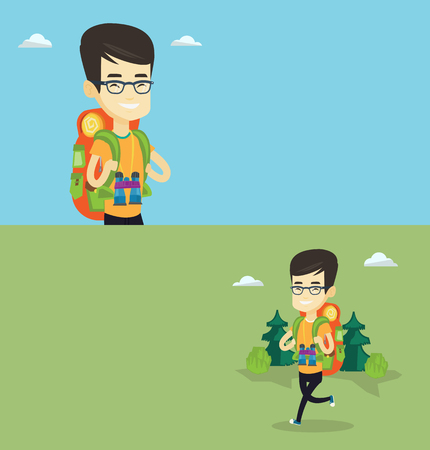 Two travel banners with space for text. Vector flat design. Horizontal layout. Hiking asian man standing with backpack and binoculars. Young backpacker walking outdoor. Backpacker traveling in nature.