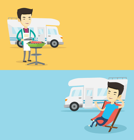 Two travel banners with space for text. Vector flat design. Horizontal layout. Man cooking barbecue on the background of camper van. Man travelling by camper van. Man enjoying vacation in camper van. Illustration