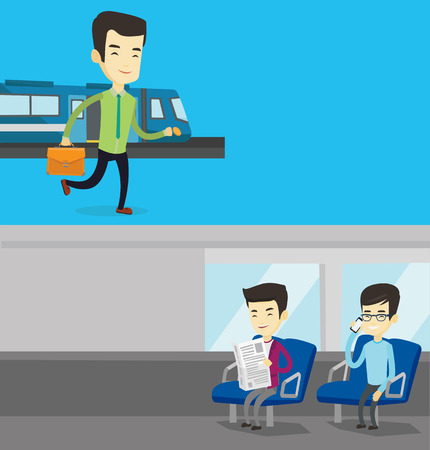 Two transportation banners with space for text. Vector flat design. Horizontal layout. Young asian businessman walking on the train platform. Man going out of train. Businessman at the train station. Illustration
