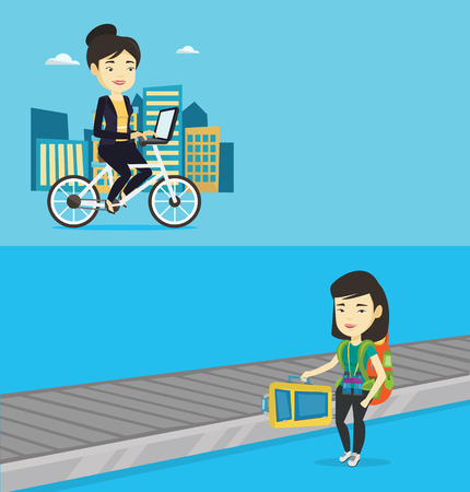 Two transportation banners with space for text. Vector flat design. Horizontal layout. Asian woman picking up suitcase on luggage conveyor belt at airport. Woman taking her luggage at conveyor belt. Çizim