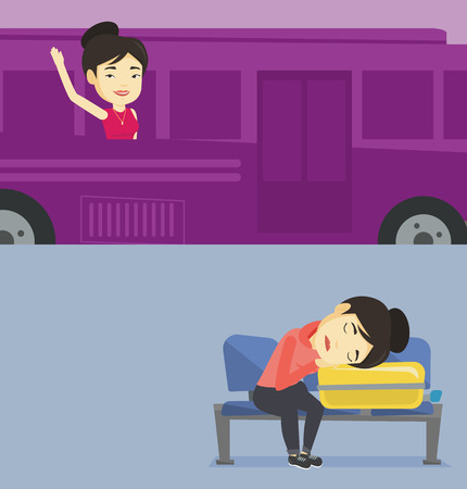 Two transportation banners with space for text. Vector flat design. Horizontal layout. Exhausted asian passenger sleeping on suitcase at airport. Woman waiting for a flight and sleeping on suitcase.