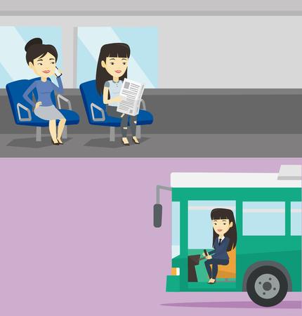Dos banners de transporte con espacio para texto. Vector diseño plano. Diseño horizontal Mujer que usa el teléfono móvil mientras viaja en transporte público. Mujer asiática leyendo el periódico en el transporte público. Ilustración de vector