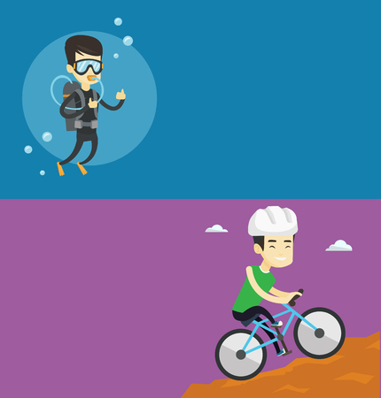 Two travel banners with space for text. Vector flat design. Horizontal layout. Asian tourist riding on mountain bicycle. Young tourist in helmet traveling in the mountains on a mountain bicycle. Ilustração