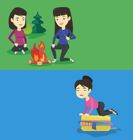 Two travel banners with space for text. Vector flat design. Horizontal layout. Two asian friends sitting around campfire. Group of young friends having fun in camping. Tourists relaxing near campfire.